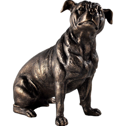 Staffordshire Bull Terrier Cold Cast Bronze Sculpture